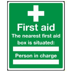 The nearest first aid box is situated -BLANK- Sign