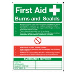 First Aid Burns & Scalds Sign