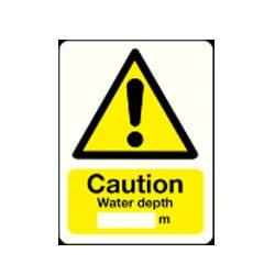 Caution water depth meter Sign