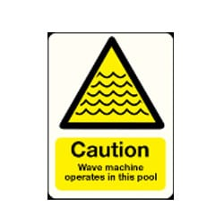 Caution Wave Machine Operates In This Pool Sign