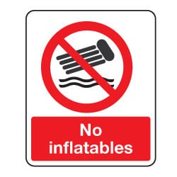 No Inflatables Sign
