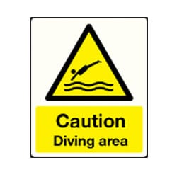 Caution Diving Area Sign