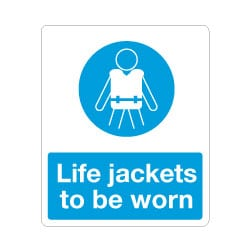 Lifejackets to be worn Sign