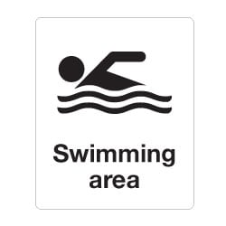 Swimming area Sign