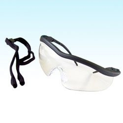Clear lens safety spectacle with a sports style frame