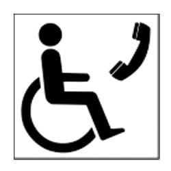 Disabled telephone symbol sign