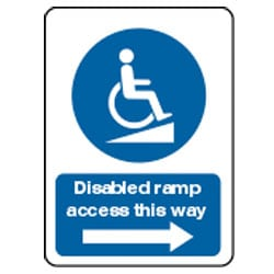 Disabled ramp access this way arrow right sign