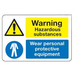 Warning Hazardous substances Wear personal protective equipment sign