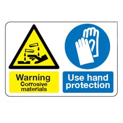 Warning Corrosive materials Use hand protection sign