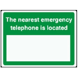 The nearest emergency telephone is located Sign