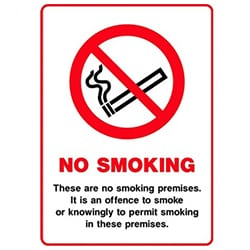 These are a no smoking premises Sign - Self Adhesive Vinyl