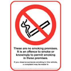 It is an offence to smoke or knowingly permit smoking on these premises Sign