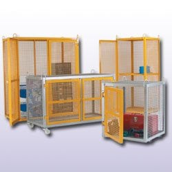 Mobile Security Cage - Galvanised Yellow Doors