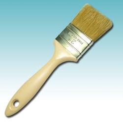 White bristle brush with plastic handle