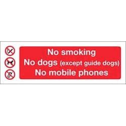 No Smoking No Dogs etc Adhesive Sticker