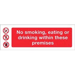 No smoking eating or drinking within these premises Sticker