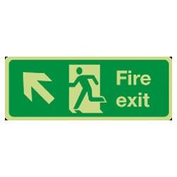 Fire Exit Man Running Arrow Diagonal Up/Left Sign (Photoluminescent)