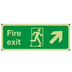 Fire Exit Man Running Arrow Up/Right Sign (Photoluminescent)