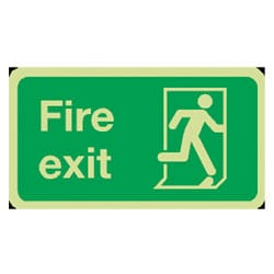 Fire Exit Man running right Sign (Photoluminescent)