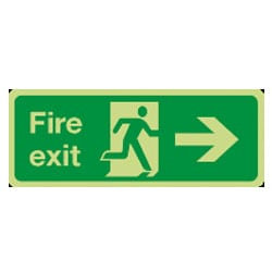 Fire Exit Man Running Arrow Right Sign (Photoluminescent)