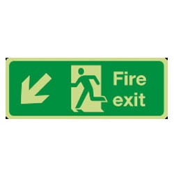 Man Running Left Arrow Down/Left Sign (Photoluminescent)