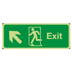 Fire Exit Arrow Diagonal Up/Left Sign (Photoluminescent)