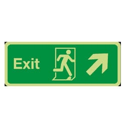 Fire Exit Arrow Diagonal Up/Right Sign (Photoluminescent)