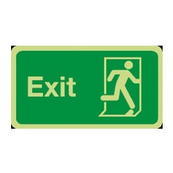 Fire Exit Running Man Right Sign (Photoluminescent)