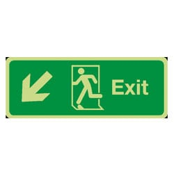 Fire Exit Arrow Diagonal Down/Left Sign (Photoluminescent)