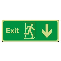 Fire Exit Arrow Down Man Running Sign (Photoluminescent)