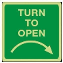 Turn to open - Right Sign (Photoluminescent)