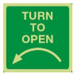 Turn to open - Left Arrow Sign (Photoluminescent)