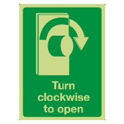 Turn clockwise to open Sign (Photoluminescent)