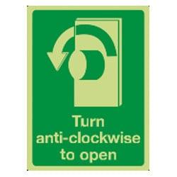 Turn anti-clockwise to open Sign (Photoluminescent)