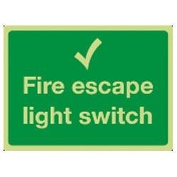 Fire escape light switch Sign (Photoluminescent)
