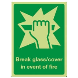 Break Glass/Cover Sign (Photoluminescent)