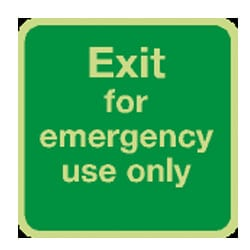 Exit for emergency use only Sign (Photoluminescent)