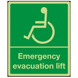 Emergency Evacuation Lift Sign (Photoluminescent)