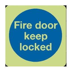 Fire Door Keep Locked Blue Sign - Photoluminescent