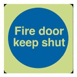 Fire Door Keep Shut Blue Sign - Photoluminescent