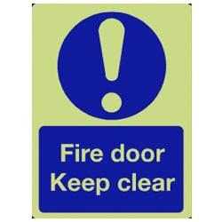 Fire Door Keep Clear Sign - Photoluminescent