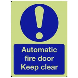 Automatic Fire Door Keep Clear Sign - Photoluminescent