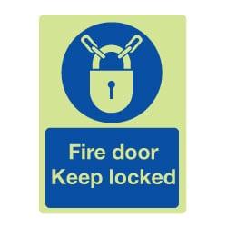 Fire Door Keep Locked Sign - Photoluminescent
