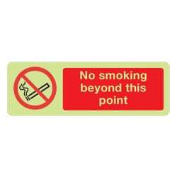 No smoking beyond this point Sign (Photoluminescent)