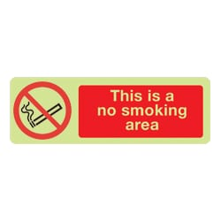 This Is A No Smoking Area Sign (Photoluminescent)