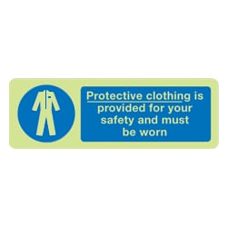 Protective clothing is provided for your safety Sign (Photoluminescent)