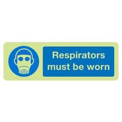 Respirators must be worn Sign (Photoluminescent)
