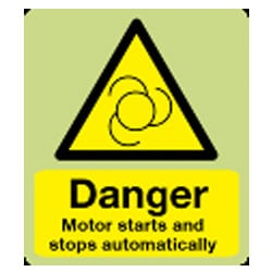 Danger Motor starts and stops automatically Sign (Photoluminescent)