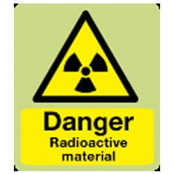 Danger Radioactive Material Sign (Photoluminescent)