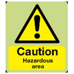 Caution Hazardous Area Sign (Photoluminescent)